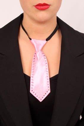 Mini stropdas roze met Strass-stenen