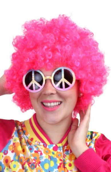 Hippie pruik neon pink