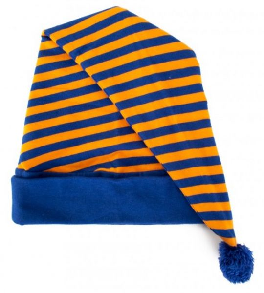 Slaapmuts oranje blauw gestreept