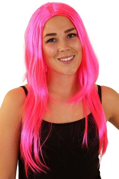 Toppers Pruik lang pink haar