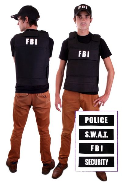 Kogelvrij vest met 4 badges (FBI, Security, Police, S.W.A.T.)