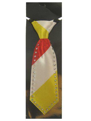 Mini stropdas rood wit geel Oeteldonk met Strass-stenen