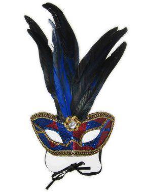 Oogmasker Venetiaans blauw met rood en veren