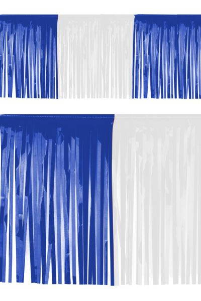 PVC slierten folie guirlande blauw wit
