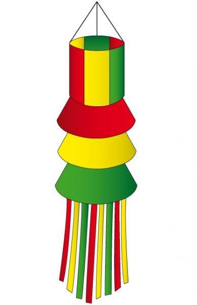 Windsock rood geel groen met slierten