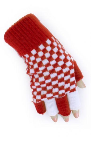 Vingerloze handschoenen rood wit geblokt