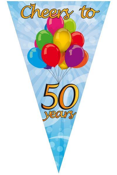 Mega puntvlag cheers to 50 years 90 x 150 cm