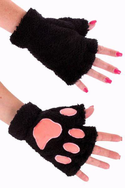 Vingerloze handschoenen pluche zwarte berenpootje