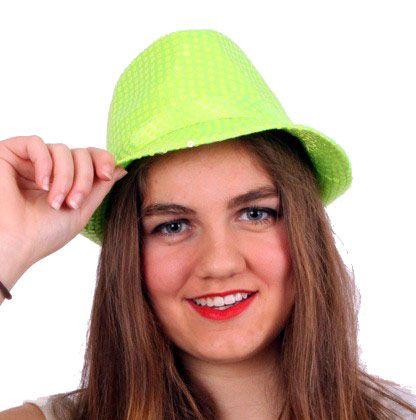 Deukhoedje fluor groen met pailletten