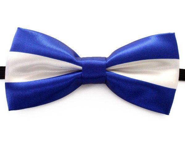 Vlinderstrik luxe blauw wit gestreept