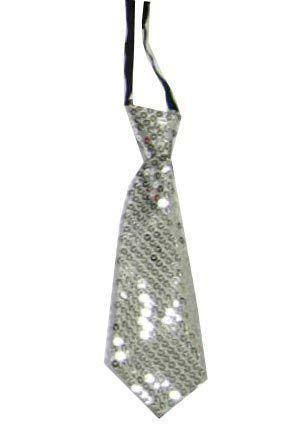Korte stropdas met zilver pailletten