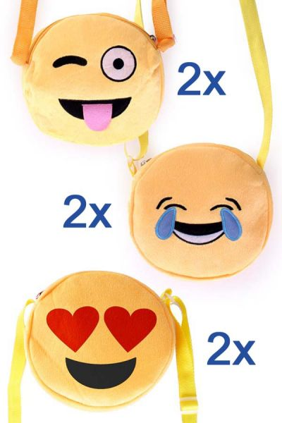 6 Emoticon Smiley Schoudertassen