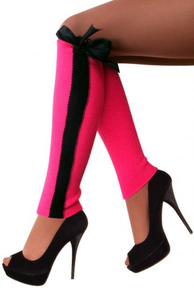 Beenwarmers Toppers pink met zwarte streep en strik