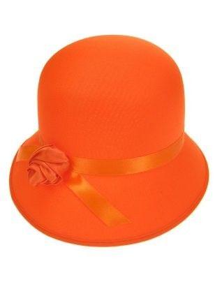 Dameshoedje bol met roosje neon oranje