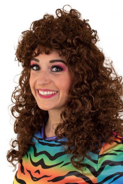 Pruik lang krullend bruin haar