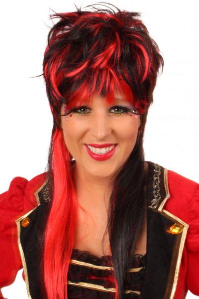 Pruik Virginia rood zwart lang haar