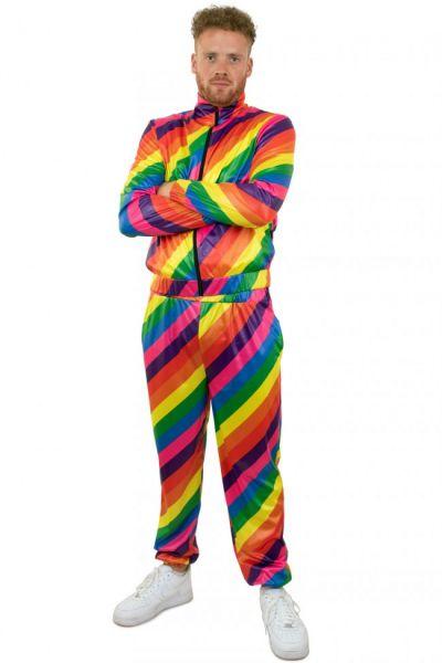 Trainingspak jaren 80 disco regenboog