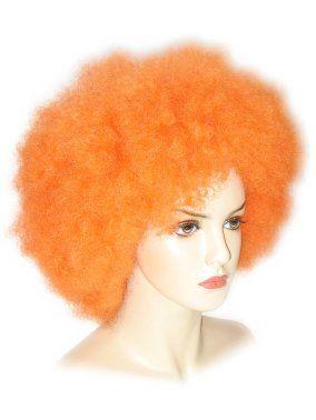 Fluor neon oranje pruik krullen