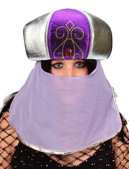 Arabische Suleika hoed paars met sluier