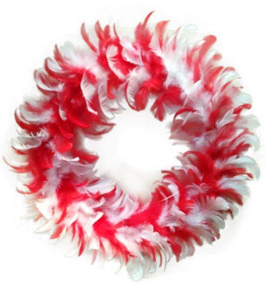 Krans rood wit van veren feestversiering