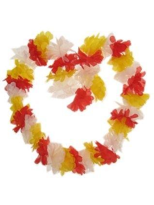 Hawaii halsketting rood - wit - geel slinger Oeteldonk 12 stuks
