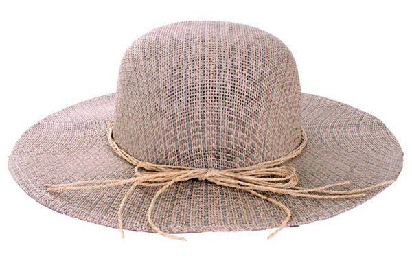 Dameshoed stro luxe met bandje van touw