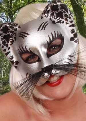 Oogmasker kat zilver zwart met snorharen