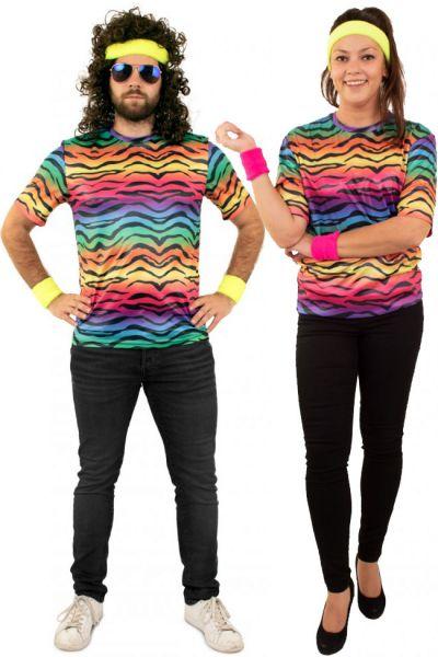 Hippie neon T-shirt tijger print