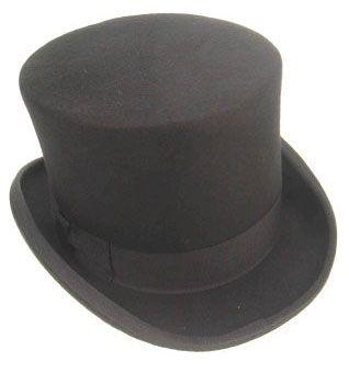 Hoge cilinder hoed wol vilt zwart
