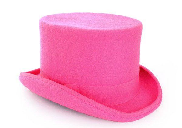 Cilinderhoed wol vilt Pink