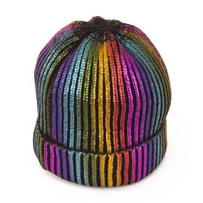 Ijsmuts regenboog muts met glitter