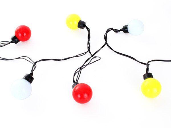Verlichtingssnoer 20 lamps dia 4 cm rood wit geel