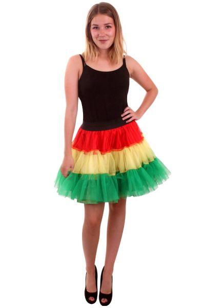 Petticoat rood geel groen carnaval