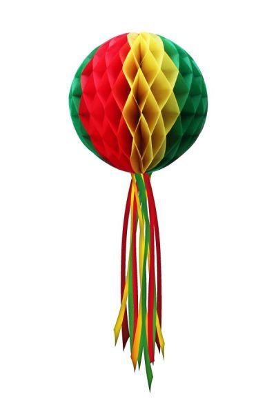 Decoratiebol rood geel groen 20 cm niet brandveilig