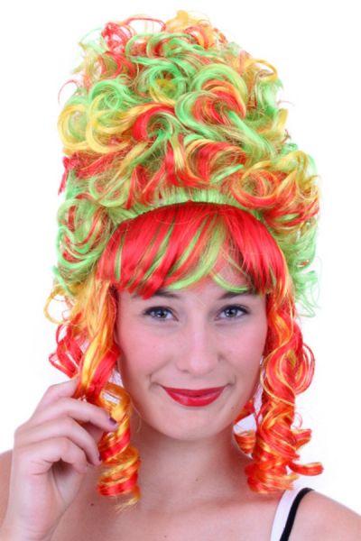 Hofdame pruik Rood Geel Groen Carnaval 2018