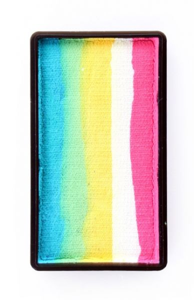 One Stroke split cake turquoise green yellow white pink Face Painting PartyXplosion