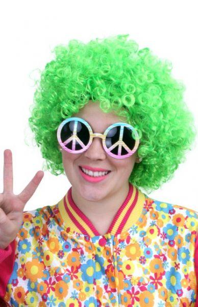 Hippie pruik neon groen