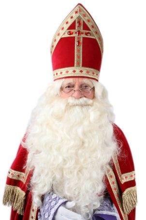 Sinterklaas steile baard met vaste snor kleur eierschaal