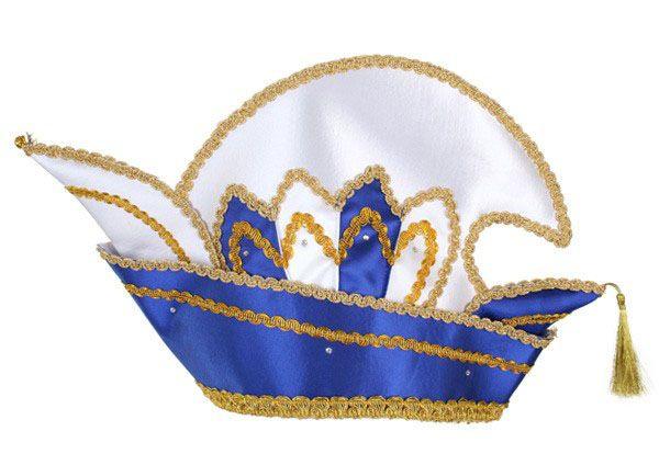 Prins Carnaval steek muts blauw met steentjes