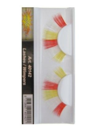 False Eyelashes red white yellow