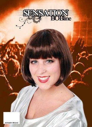 Party pruik Bobline dames pruik bruin sensation