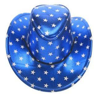 Wild West Stetsonhoed metallic blauw met sterren