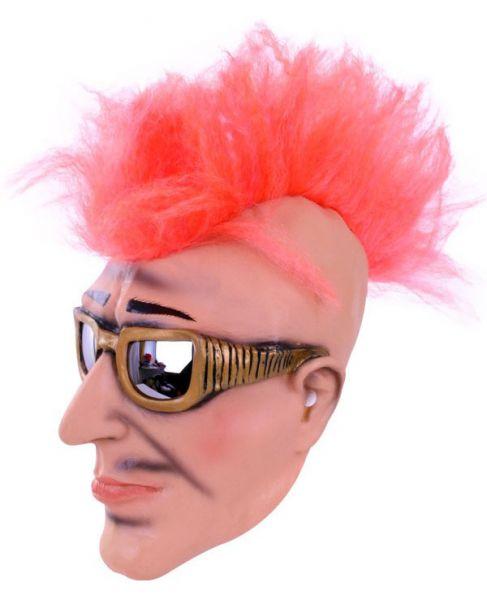 Masker punker rocker met zonnebril en hanenkam