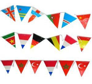 Vlaggenlijn internationaal 120m feestversiering