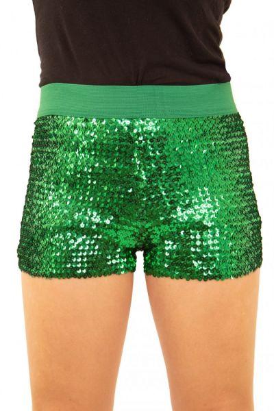 Hotpants met pailletten groen