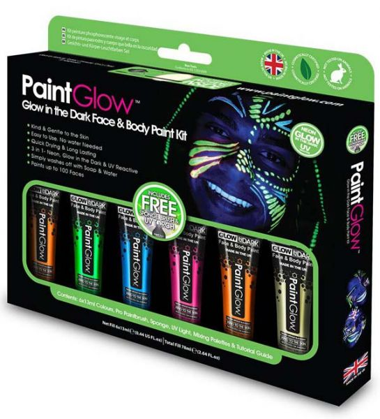 PaintGlow Glow in the Dark Face & Body Paint kit