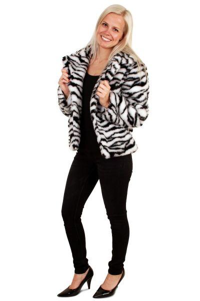 Korte zebra print bontjas witte tijger