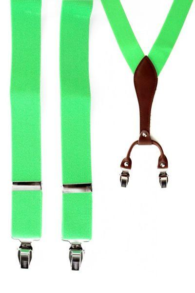 Bretels fluor groen met leder