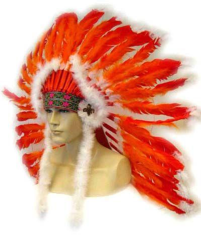 Indianentooi rood - oranje met witte staarten