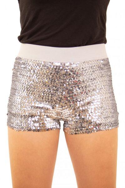 Hotpants met pailletten zilver